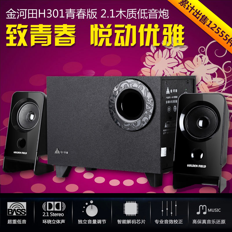 Golden Field/Jinhetian H301 Youth Edition Computer Audio Active Subwoofer Multimedia Small speaker