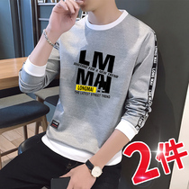 Mens sweater mens trendy Korean version of the student base shirt shirt spring and autumn season long-sleeved T-shirt mens spring t