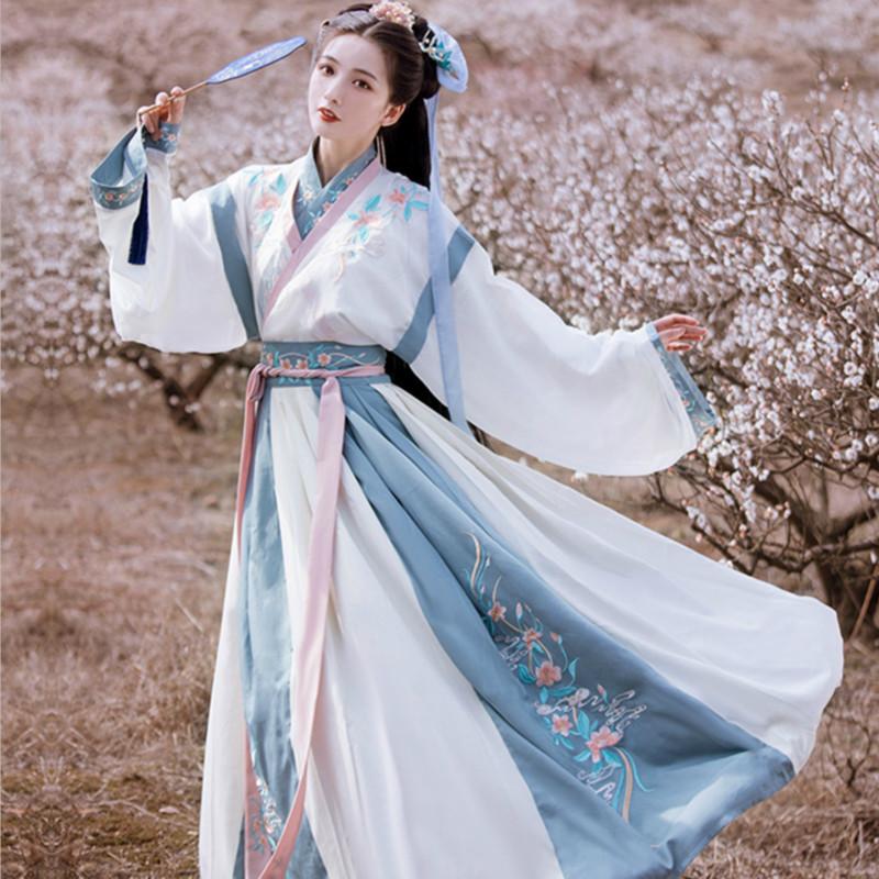 Yan Ranyue Pan Gallery original Hanfu womens Chinese style non-ancient costume Jin made collar waist kimono dress elegant autumn and winter