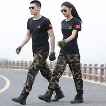 Summer short sleeved thin style Chinese T-shirt + camouflage pants breathable special training students military training camouflage suit mens physical fitness suit