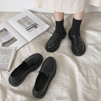 Sœur douce noire petites chaussures en cuir femelle british vent fond plat 2020 automne   hiver nouvelle ancienne japonaise jk uniforme Lofo chaussures
