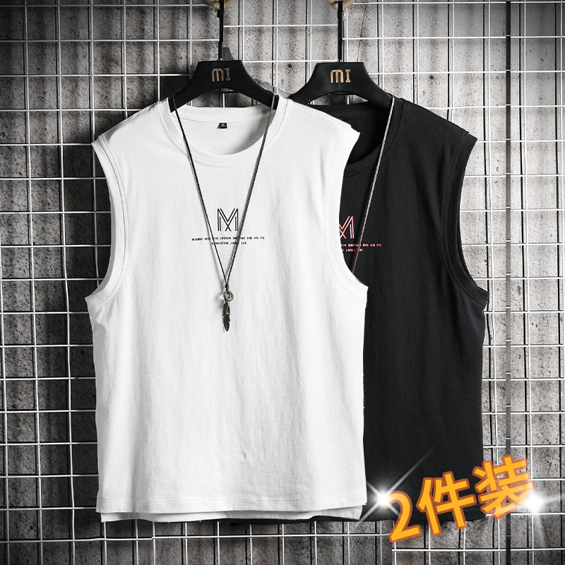 Summer basketball tank top men's sleeveless T-shirt fashion brand ins casual cotton waistband trend all-around riding jacket