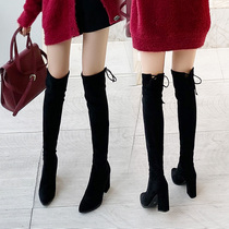 Boots female 2019 new autumn high-heeled pointed over-the-knee boots winter plus velvet small tall thin thin boots