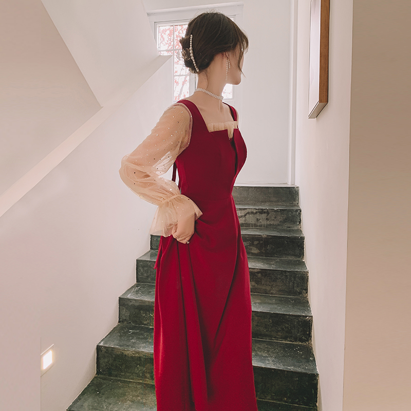 Toast dress bride 2021 new usually can wear wine red summer engagement dress red mesh back to the door