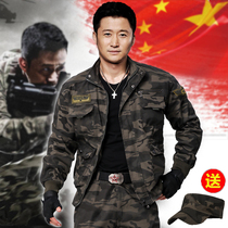 New new military uniform mens cotton dark night special forces mens Black Hawk high-elastic camouflage suit military