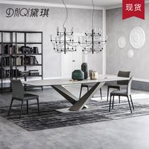 Скандинавский обеденный стол и стулья сочетание современного минималистского света и роскоши маленький семейный прямоугольный обеденный стол домашний мраморный обеденный стол