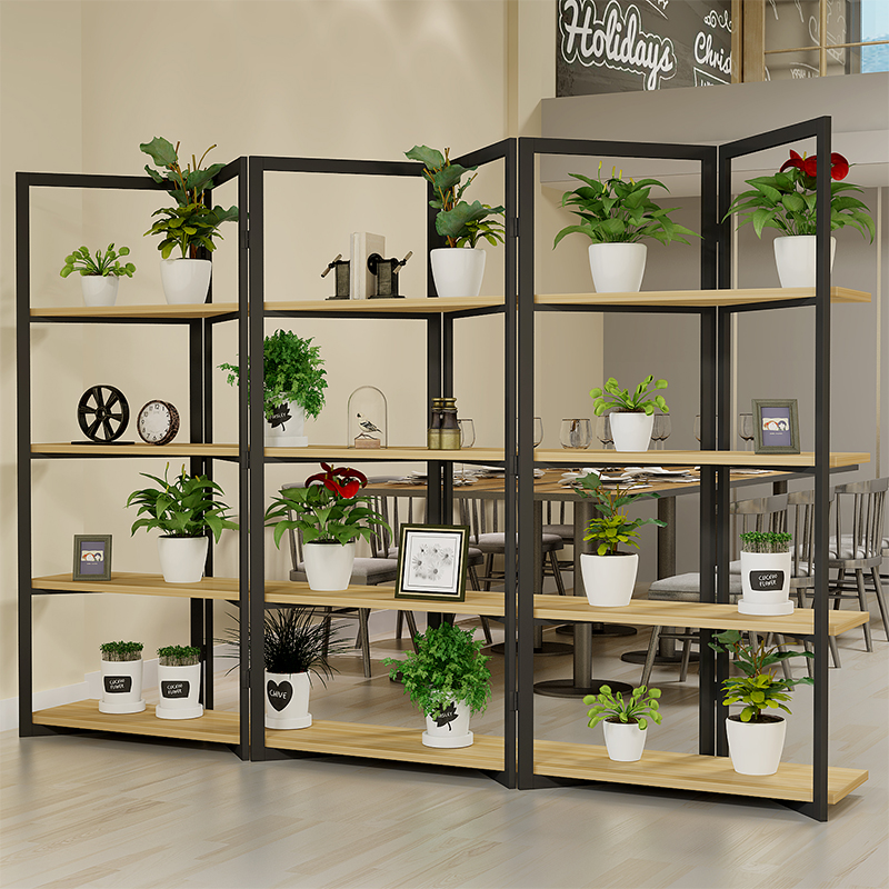 Iron partition rack Office industrial wind partition decorated living room bedroom modern minimalist screen bookshelf