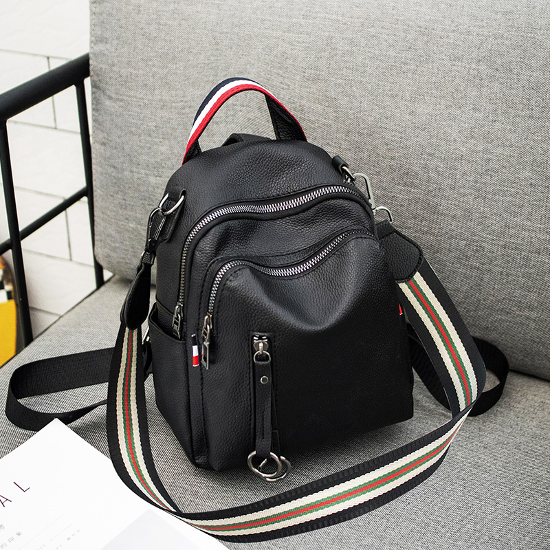 Fashion backpack 2018 new female Korean soft leather wild backpack dual-use pu leather solid color single shoulder female bag tide
