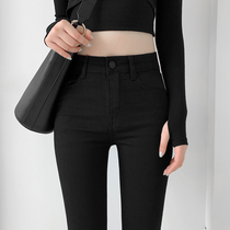 Black jeans women plus velvet pants high waist tight small feet pencil pants 2021 Spring and Autumn New thin stretch