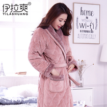 Winter nightgown female Winter coral cashmere thickening long section pajamas clip cotton plus cashmere warm winter lovely ladies bathrobe