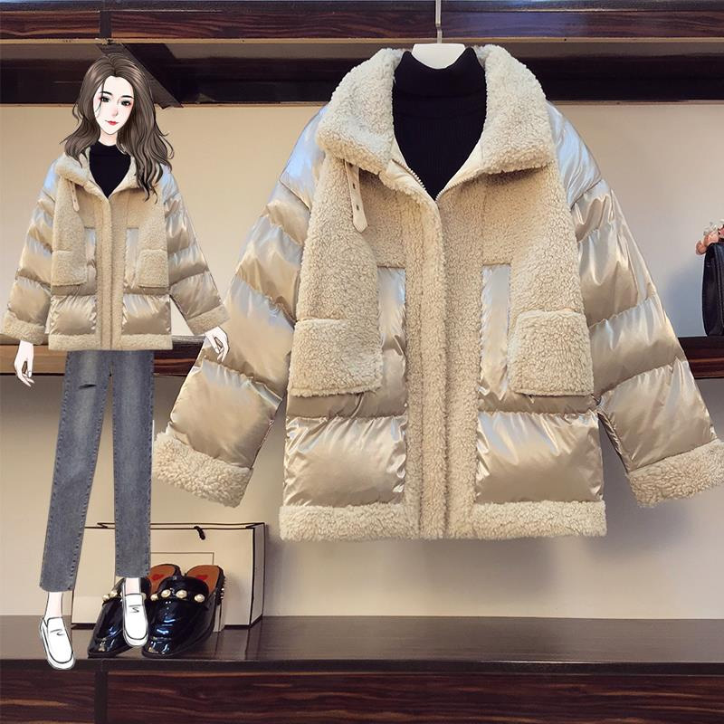 Slightly fat girl wearing the new size 2020 size womens fat sister winter dress show thin cover lamb hair coat girl
