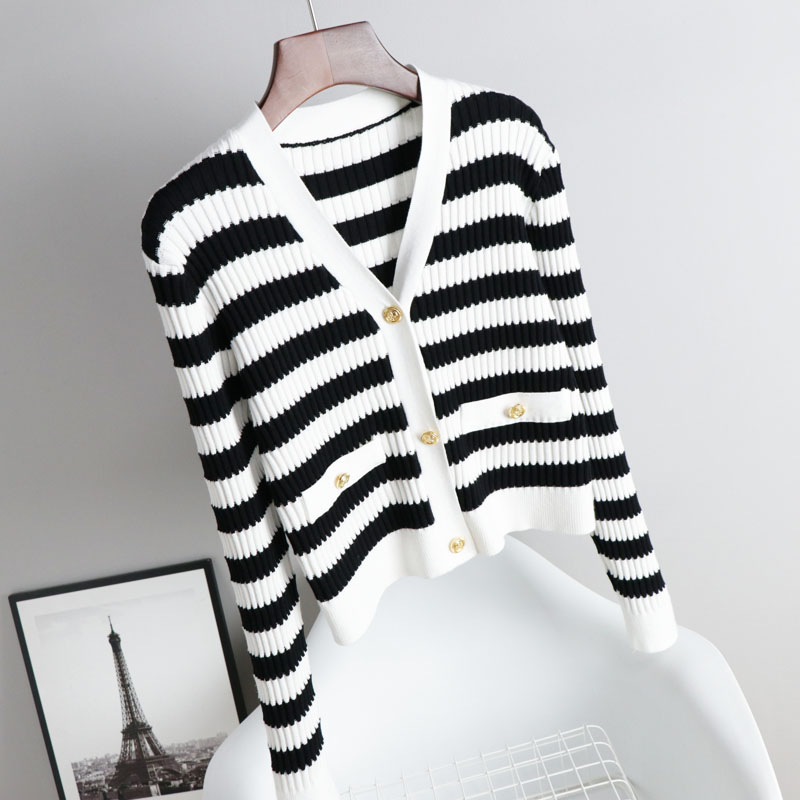 V-neck knitted sweater 2021 spring summer new black and white stripes retro ice silk cardigan fashion wild Korean version of the coat
