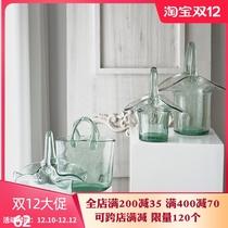 曼迪森网红创意手提篮包包花瓶玻璃透明鱼缸摆件客厅插花水培鲜花