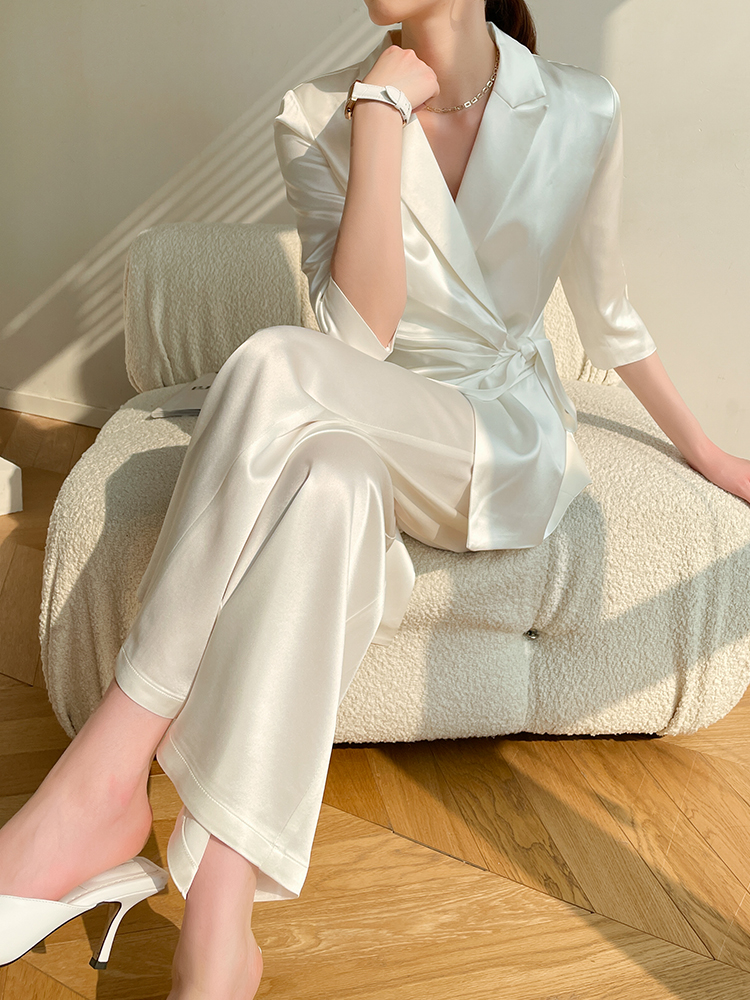 Silk triacetate satin suit womens spring and summer thin high-end white small suit wide-leg pants two-piece set