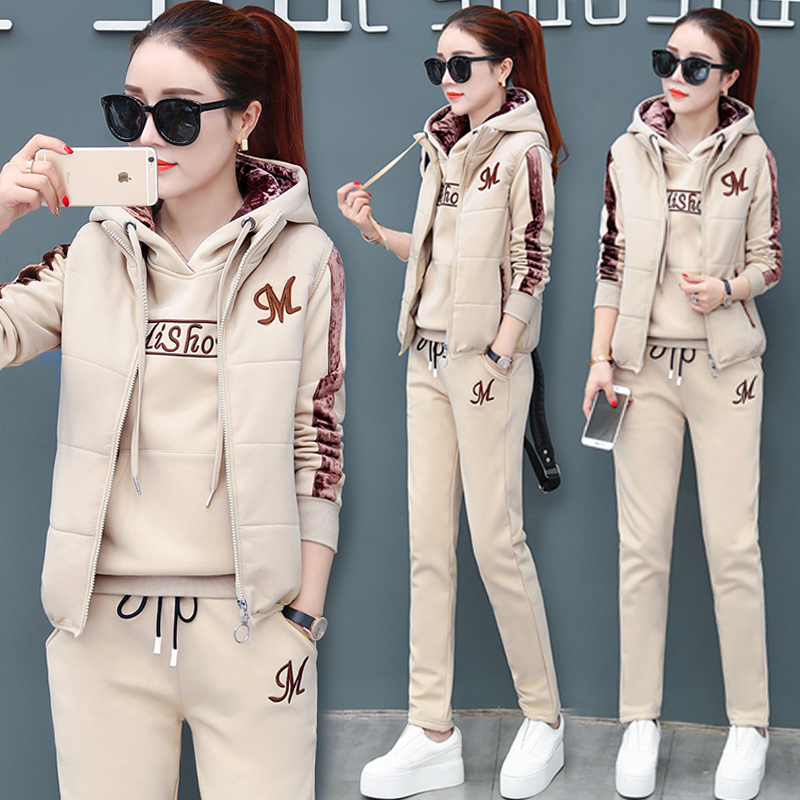 Plush sports suit women autumn winter 2020 new thickened casual three-piece suit winter gold velvet cotton T