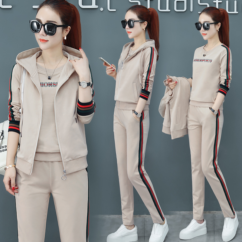 Early spring brand sportswear set womens spring and autumn 2021 new trendy brand fashion running casual three-piece suit spring dress