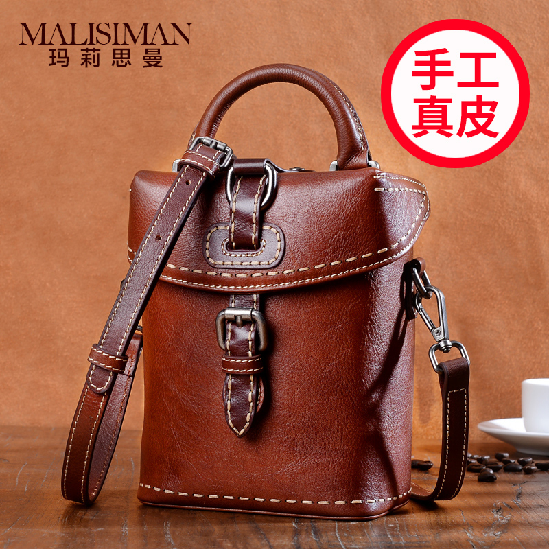 Small Bag Girl 2019 New Genuine Leather Handmade Vintage mother cowhide single shoulder inclined bag vertical handbag