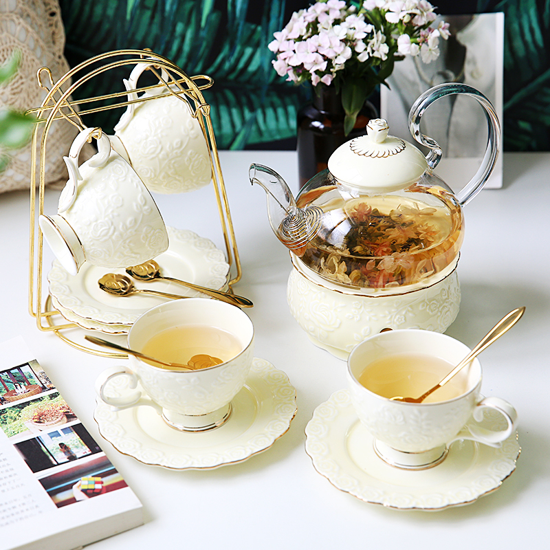 English afternoon tea set European flower tea set flower tea cup set ceramic glass boiled fruit candle teapot