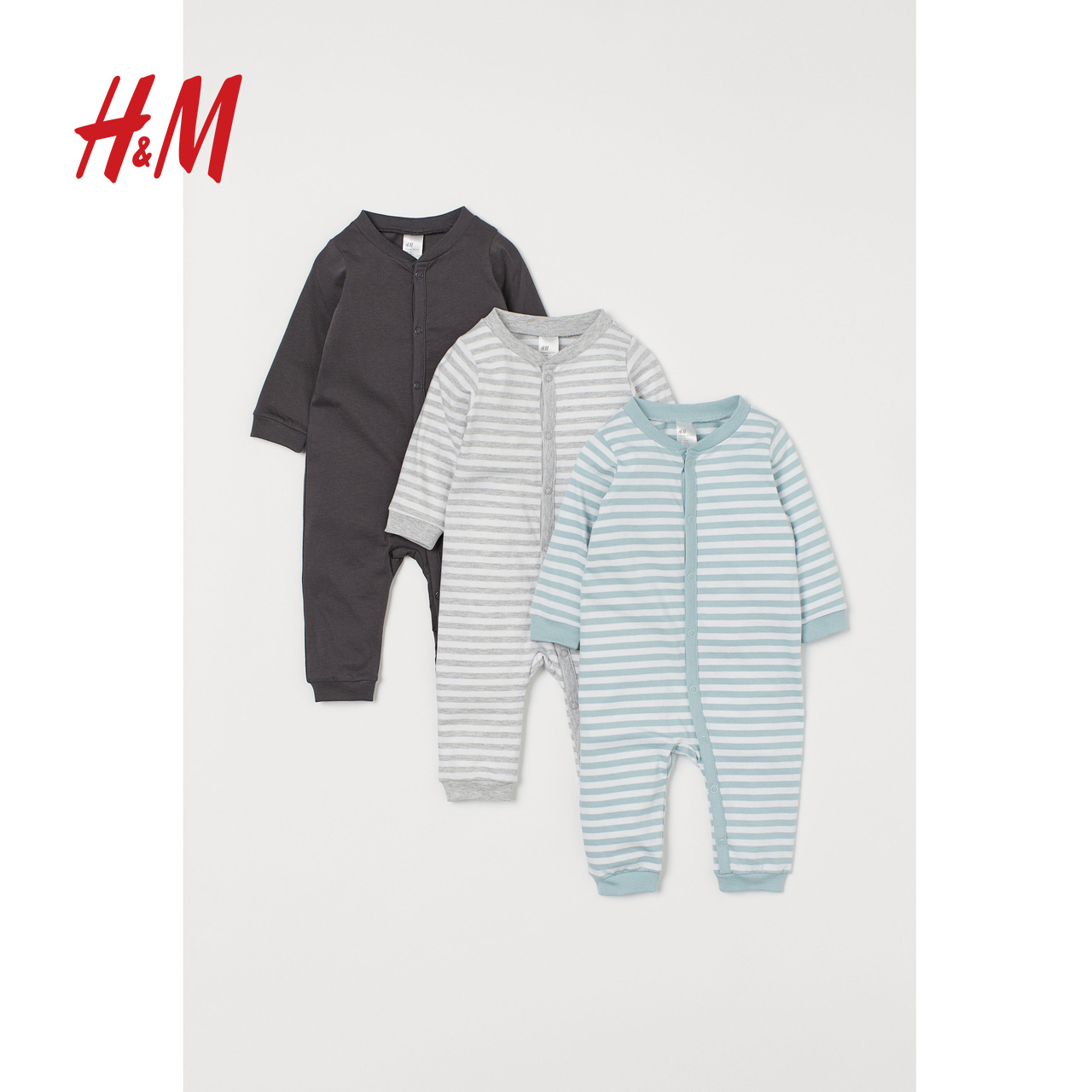 HM children's one-piece baby clothes 2020 spring pure cotton Harbin clothes baby pajamas 3-piece clothes 0769102