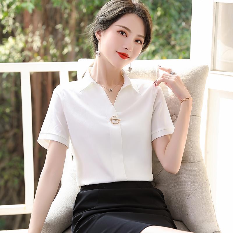 White shirt womens professional suit summer fashion OL short sleeve shirt Womens overalls formal dress womens suit skirt