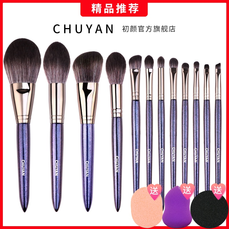 12 sets of Cangzhou makeup brush sets, super soft mesh, red professional blush, eye shadow, powder and brush set.