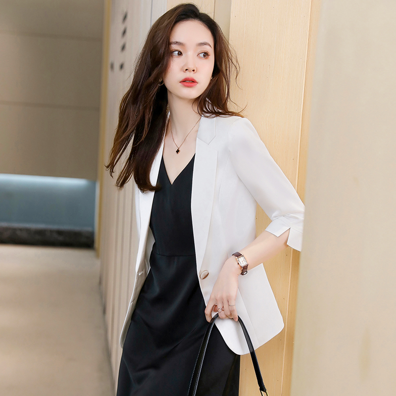 White blazer womens summer thin section 2021 summer new professional dress small suit skirt suit