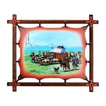 Mongol en cuir peinture en bois Cadre Peinture Yourte décoration peinture Mongol restaurant décoration peintures murales Mongolie intérieure artisanat cadeaux