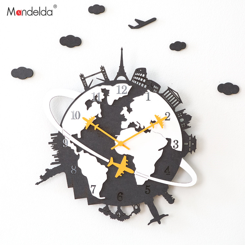 Mandelda Clock Creative Living Room Modern American Personality Watch Silent Clock Household Decorative Quartz Clock