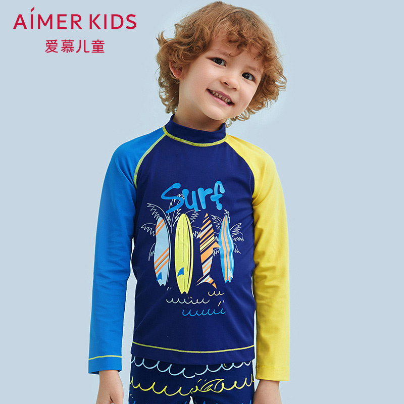 Aimer kids adores children's beach surfing boys'long-sleeved swimsuits AK2671191