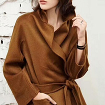 High-end water corrugated double-sided cashmere coat women long 2021 autumn and winter New wool woolen coat loose