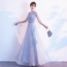 Temperament evening dress dress female 2020 new style banquet host chorus performance costume immortal gas student long style