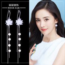 Summer tassel earrings 2021 new trend ice crystal flower super fairy earrings long temperament anti-loss sterling silver ear line
