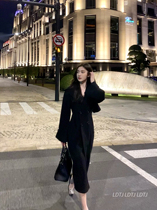 LDTJ Gao Ding Autumn and Winter 2021 New Ni Ni hairy coat women double breasted long black waist thin coat