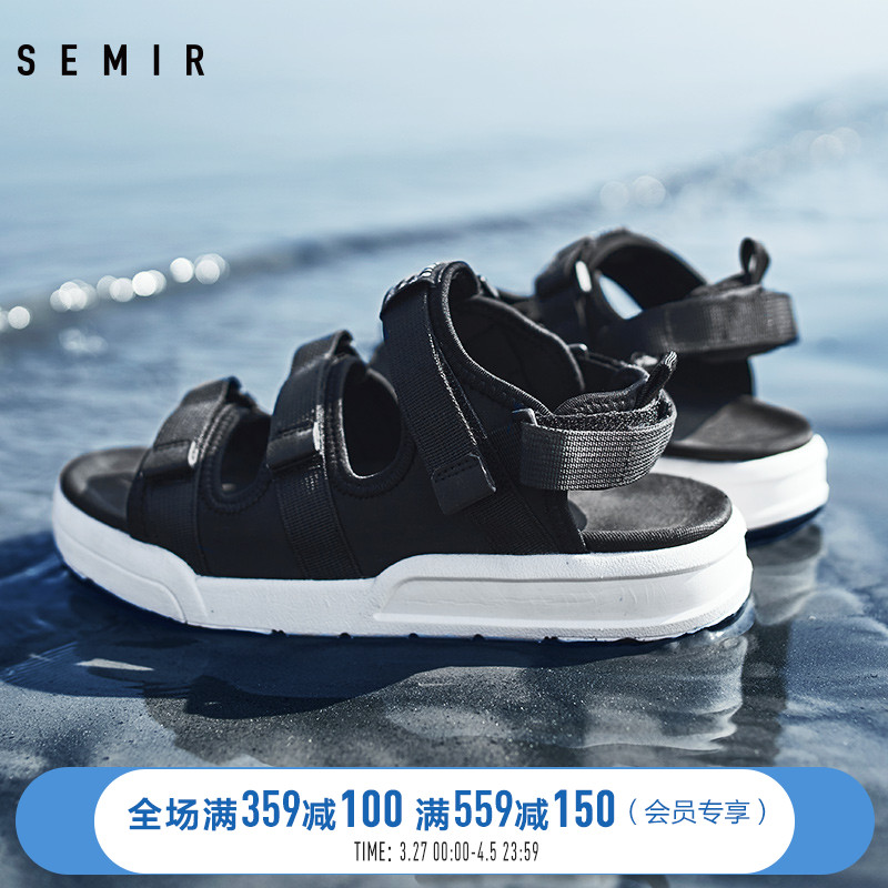 Semir sandals men's new 2020 summer Trend Sports Velcro soft bottom men's slippers dual purpose beach shoes