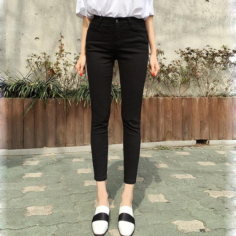 Pure black jeans nine-point pants women show thin autumn winter 2020 tight elastic plus plus thick waist small feet eight points
