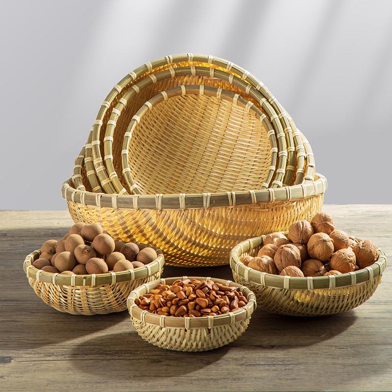 Produits de préparation en bambou autour cahoteux panier de pain de fruits de la ferme maison collations aux fruits secs pour recueillir de petits paniers de lavage paniers en bambou