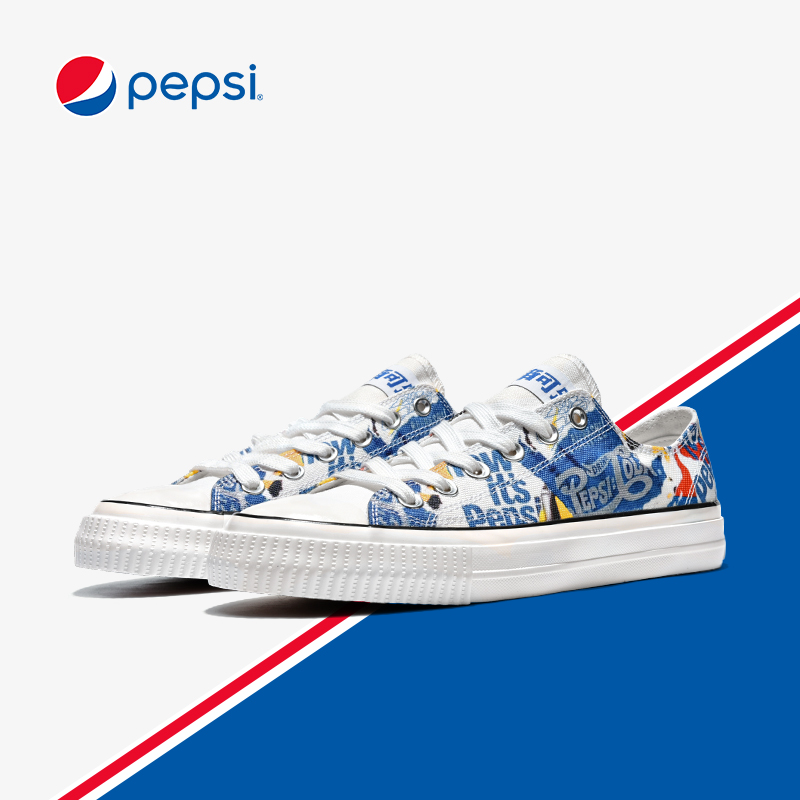 Pepsi canvas shoes low top hand-painted spring 2020 Korean trend all kinds of small couple shoes men's fashion shoes men's shoes