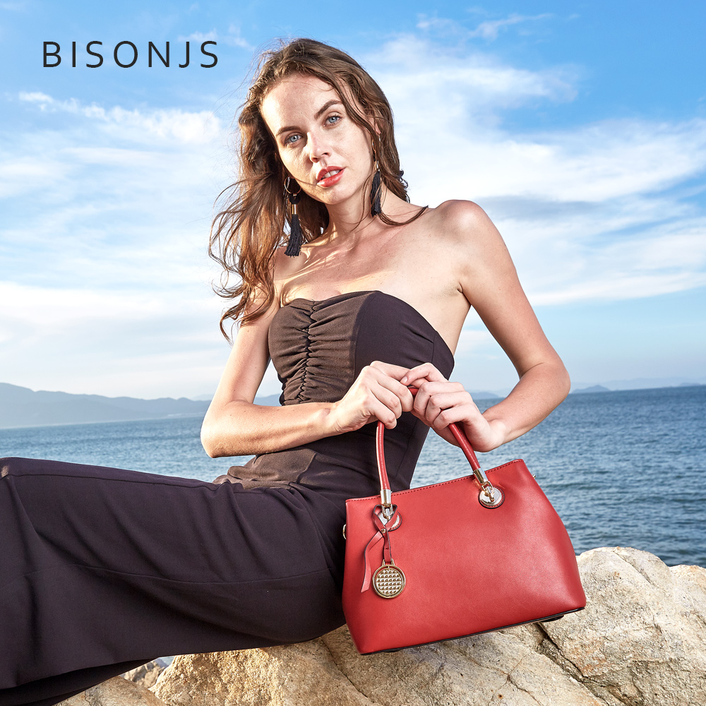 BISONJS handbag female 2018 new leather handbags wild female shoulder bag red Messenger bag female tide