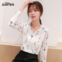 Autumn chiffon shirt womens spring and autumn 2020 new fashion foreign pie hundred long-sleeved clothes temperament shirt