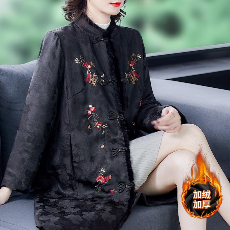 Mom Xiangyun yarn cheongsam satin cotton wool winter coat Chinese wind womens plus-on plus-thick cotton clip cotton