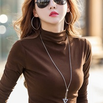 Half high collar plus velvet base shirt womens long sleeve T-shirt autumn and winter 2021 new foreign style Cotton Fashion interior top tide