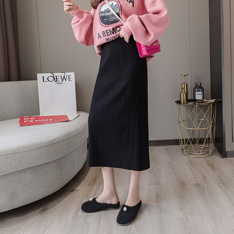 Skirt autumn and winter women 2020 new medium-length version of the high waist thin loose step black thick knit long skirt girl