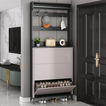 Ultra-thin dump shoe cabinet Household door small household simple modern entrance cabinet with hanger one-piece space-saving shoe rack