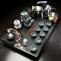 The whole piece of Wu Jinshi tea tray atomized water Gongfu tea set Household large tea table ceramic purple sand drink tea cup