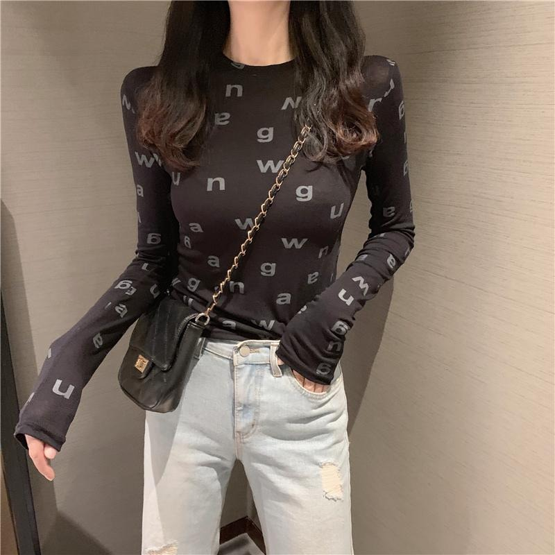 2021 spring black letter long sleeve slim thin t-shirt Korean version of the fashion foreign tops take the base shirt female