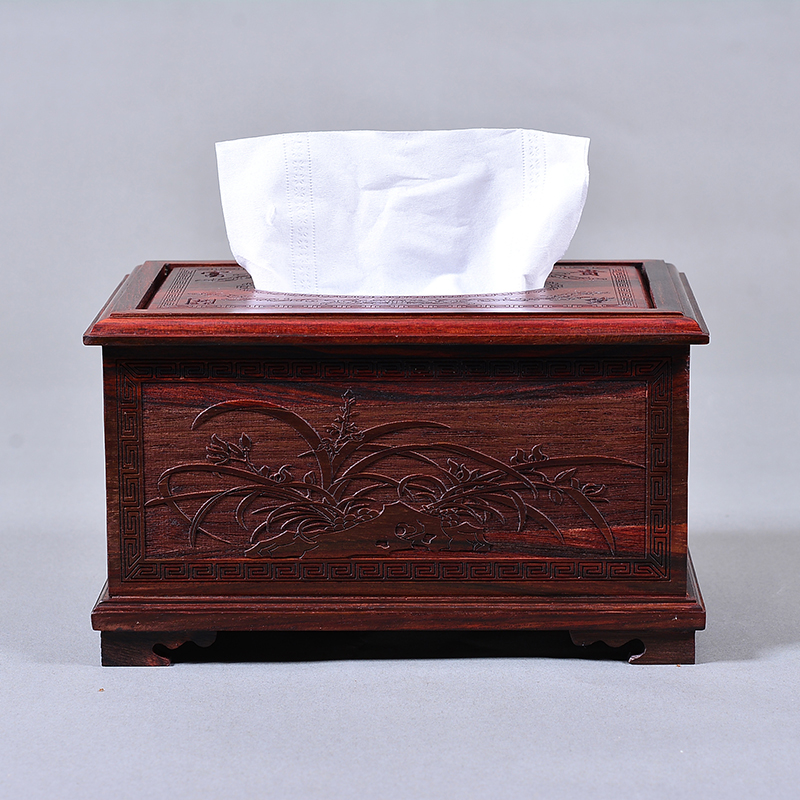 Creative Personality of Great Red Acid Branch Solid Wood Drawing Carton Office Chinese Rosewood Paper Towel Box in Household Living Room Bedroom