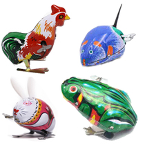 80 classic nostalgic iron frog rabbit Rooster Mouse toys children on the chain spring will jump run