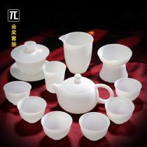 (Gold Award)Thin-tire Gongfu Tea Set Home Office Tea Goat Fat Jade White Porcelain Covered bowl Tea cup Teapot
