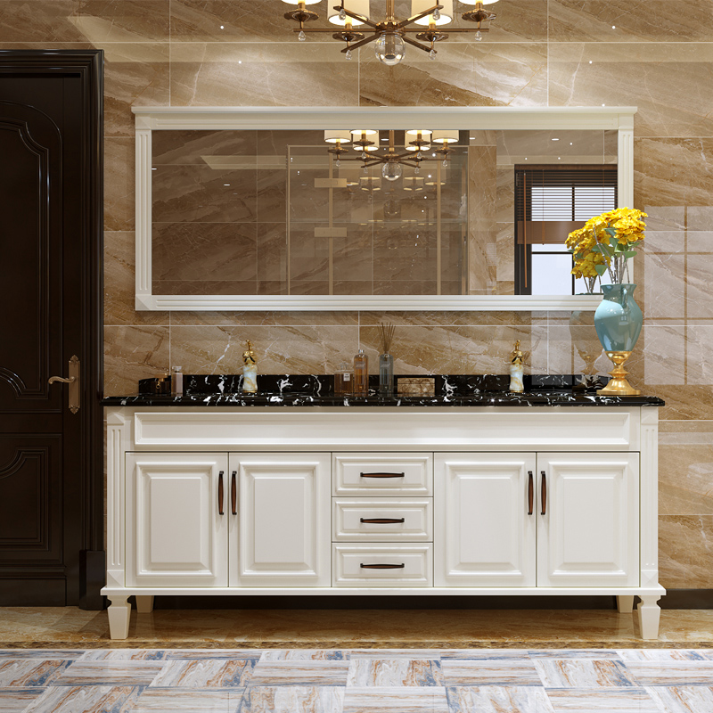 Light luxury bathroom, American style bathroom cabinet combination floor wash face, hand wash basin, solid wood wash basin, bathroom spot