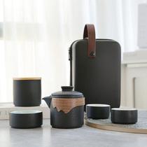 Travel tea set Small set Quick cup portable bag Single outdoor tea one pot three cups Kung Fu tea cup gift box